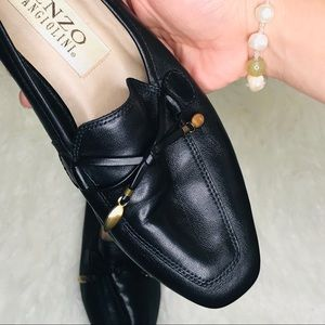 Vintage Enzo Angiolini black leather loafers